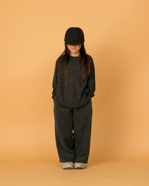 MOUN TEN. jersey Wool blend pullover charcoal