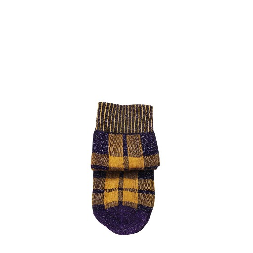 Kids shoe online Pierre Wantoux short socks Purple checkered socks with lurex