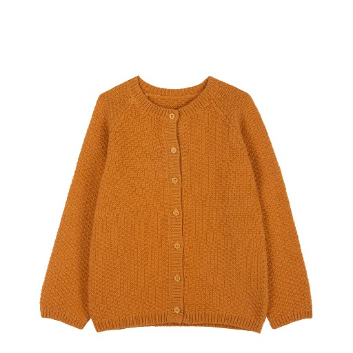 Kids shoe online Le Petit Germain cardigan Knitted cardigan mustard