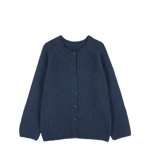Kids shoe online Le Petit Germain cardigan Knitted cardigan indigo