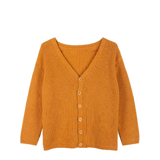 Kids shoe online Le Petit Germain cardigan Ribbed V-cardigan mustard