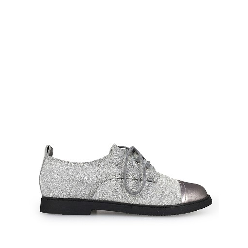 Kids shoe online Pom d'api lace-up shoe Silver glitter derby