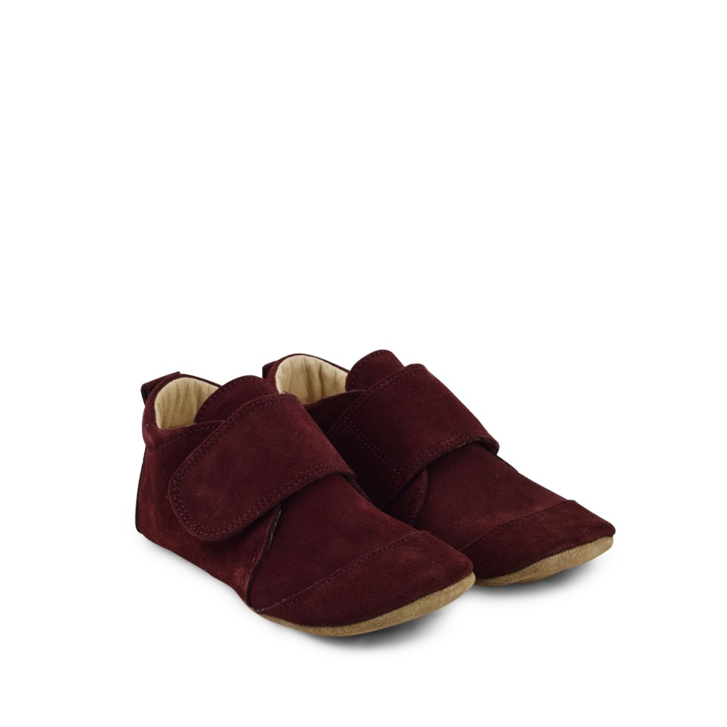 Pompom - Leather big slippers in brugundy suède