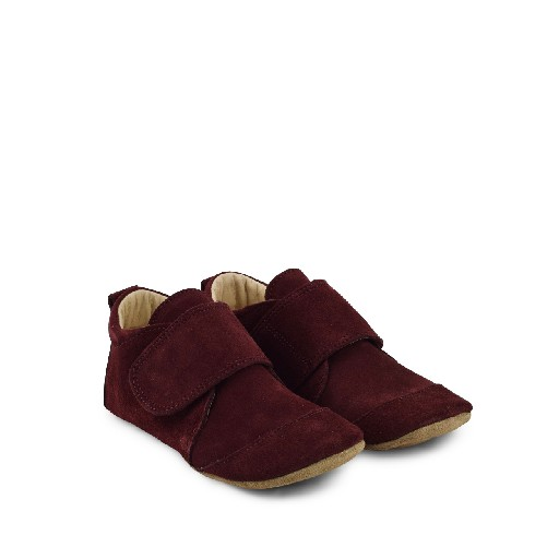 Kids shoe online Pompom slippers Leather big slippers in brugundy suède