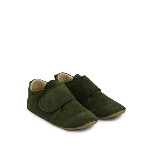Kids shoe online Pompom slippers Leather big slippers in green suède