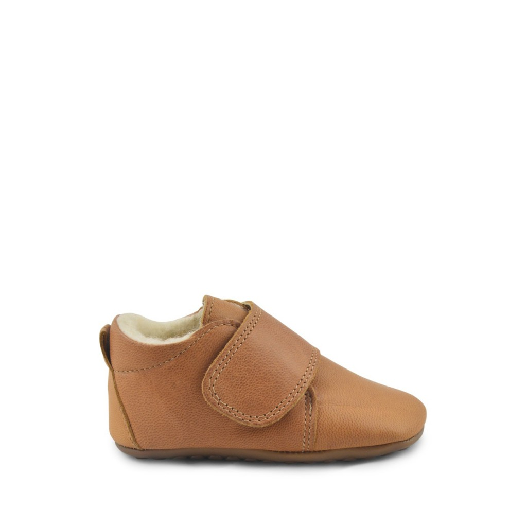 Pompom - Camel leather slipper with wool