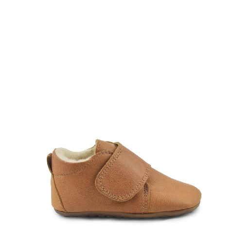 Kids shoe online Pompom slippers Camel leather slipper with wool
