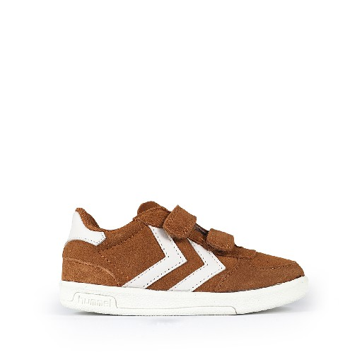 Kids shoe online Hummel trainer Brown velcrosneaker with v-stripes