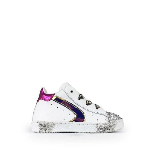 Kids shoe online Rondinella first walker White 1st step sneaker with glitter