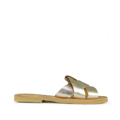 Kids shoe online Théluto sandals Stylish gold leather slippers Naya