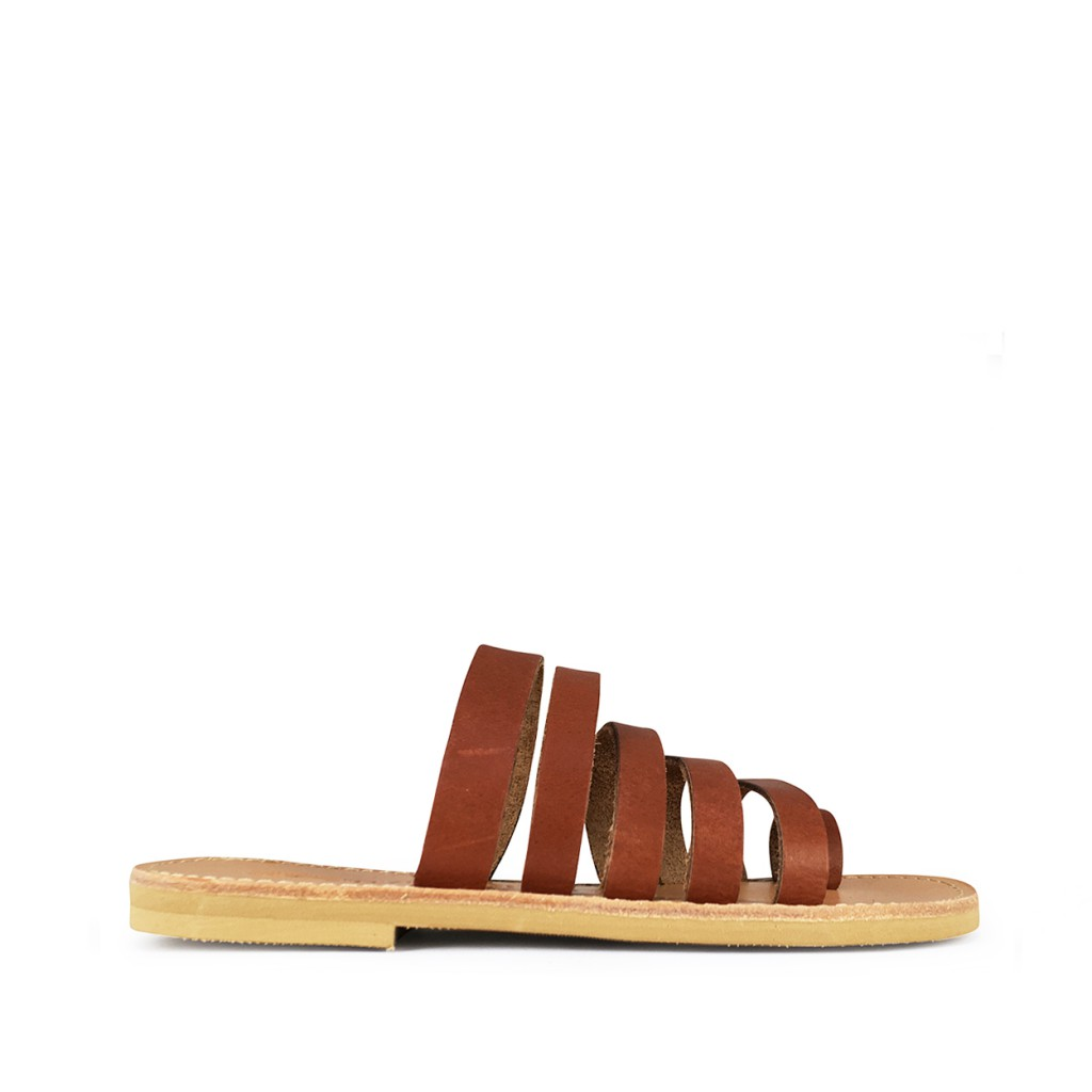 Théluto - Stylish brown leather slippers Anabelle