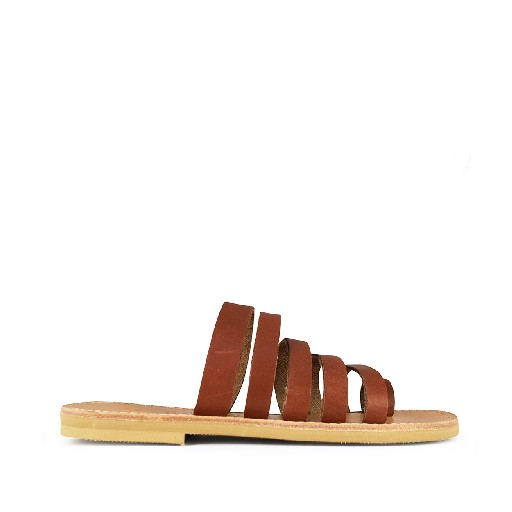 Kids shoe online Théluto sandals Stylish brown leather slippers Anabelle