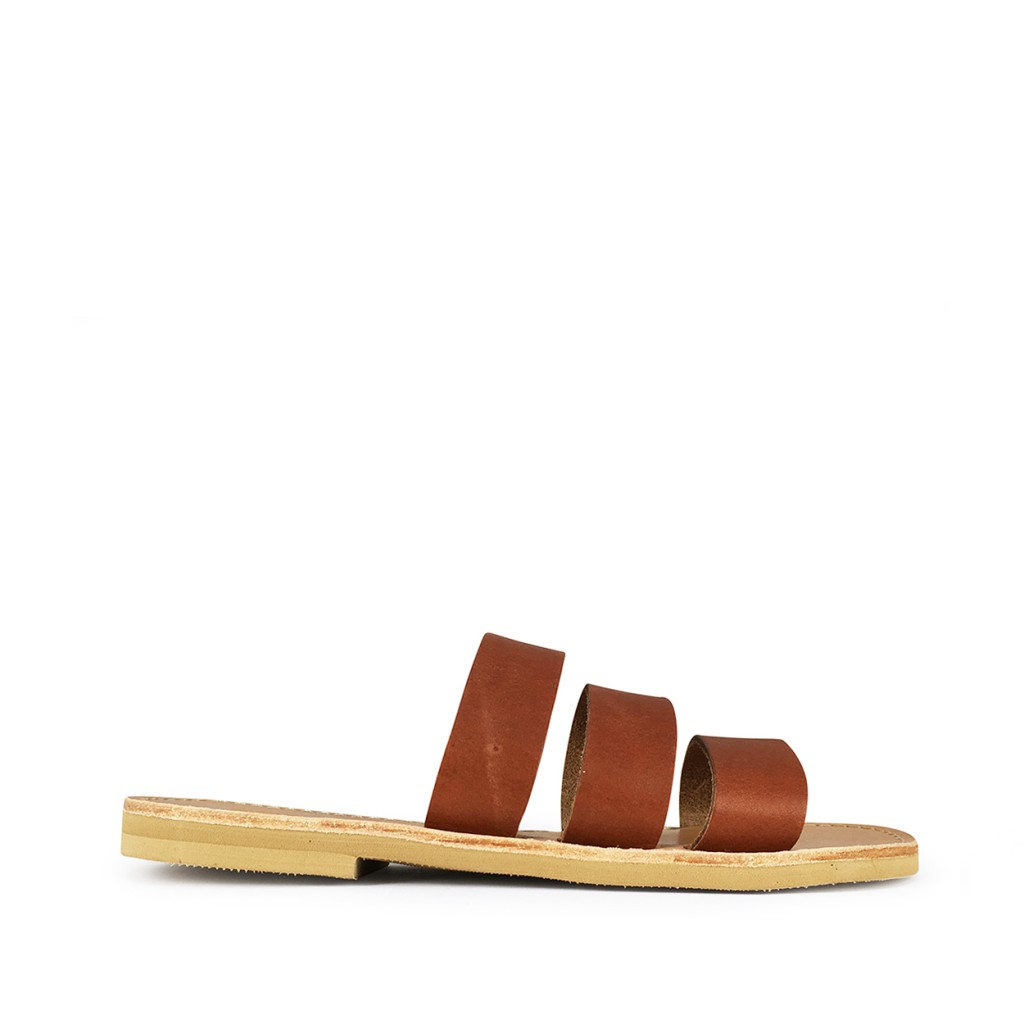 Théluto - Stylish brown leather slippers Ines