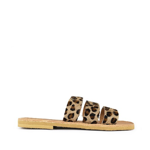 Kids shoe online Théluto sandals Stylish leopard leather slippers Ines