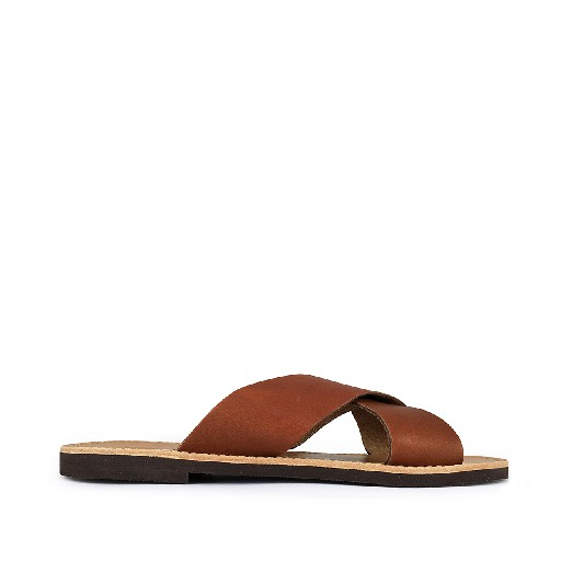 Kids shoe online Théluto sandals Camel brown men's slippers
