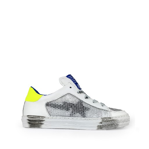 Kids shoe online Rondinella trainer White low sneaker with fluo yellow