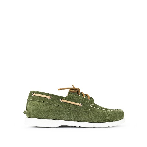 Kids shoe online Ocra lace-up shoe Green nubuck deck shoe