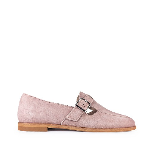 Kids shoe online Beberlis loafers Soft pink nubuck loafer with buckle