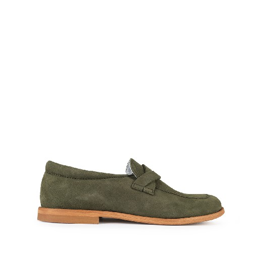 Kids shoe online Beberlis loafers Green nubuck loafer