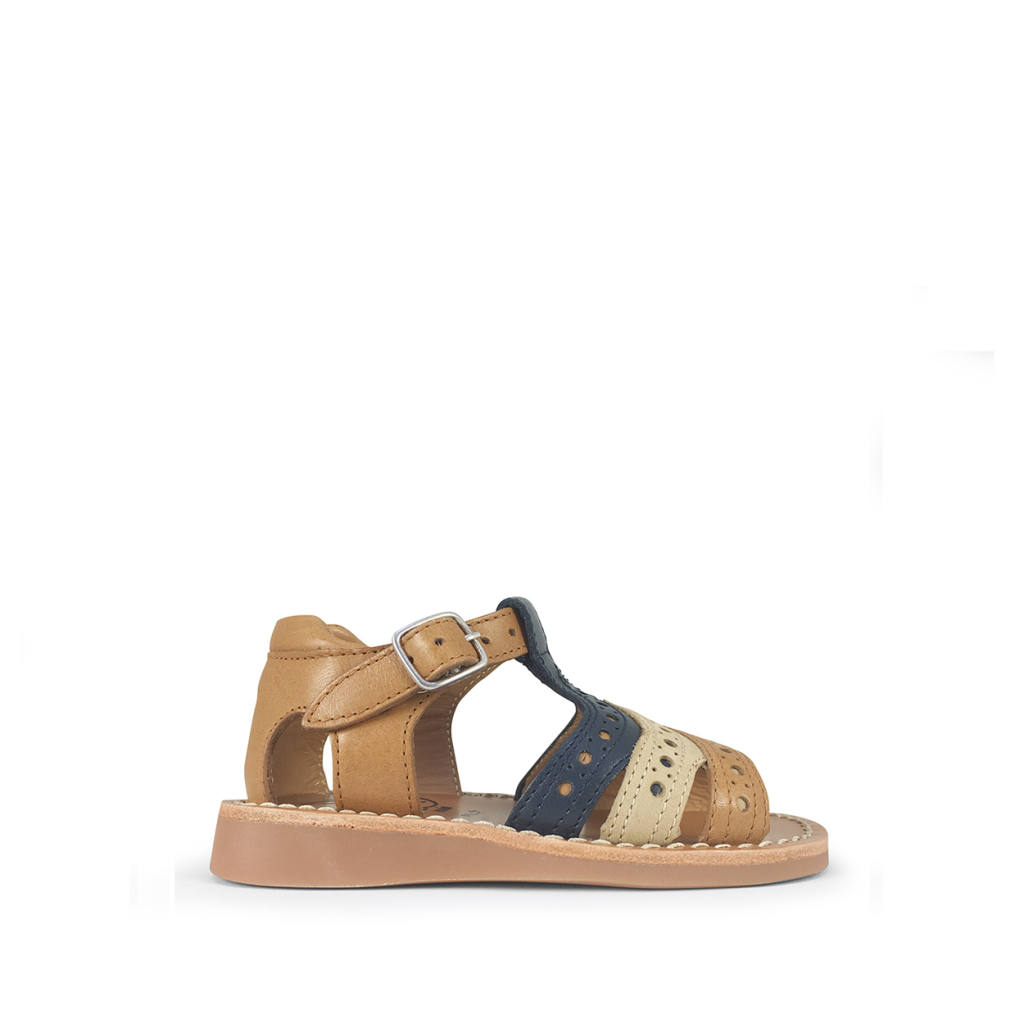 Pom d'api - Three-coloured sandal with closed heel