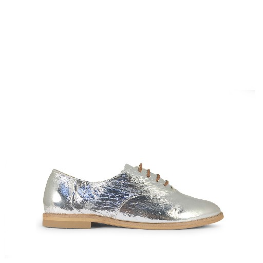 Kids shoe online Beberlis lace-up shoe Elegant patent silver derby shoe