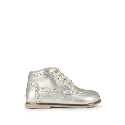 Kids shoe online Ocra first walker First stepper with brogues in gold