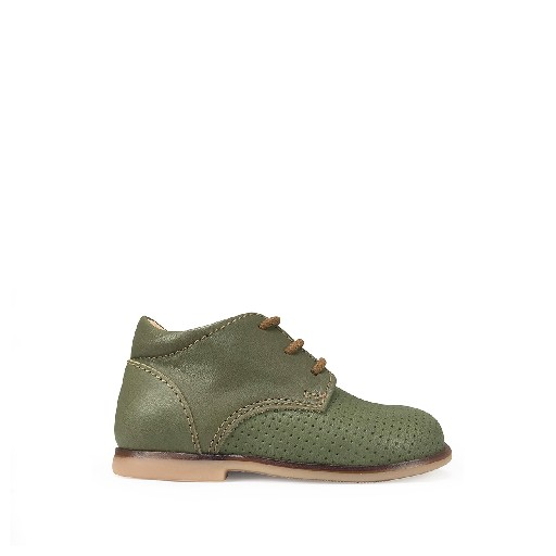 Kids shoe online Ocra first walker First step in perforated olive green