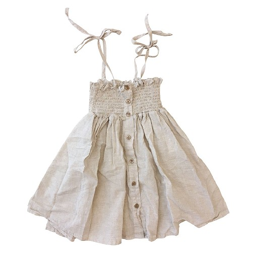 Kids shoe online Anna Pops dresses Summer smocked dress beige