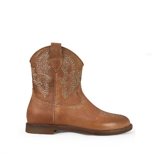 Kids shoe online Ocra short boots Brown westernboot lard leather