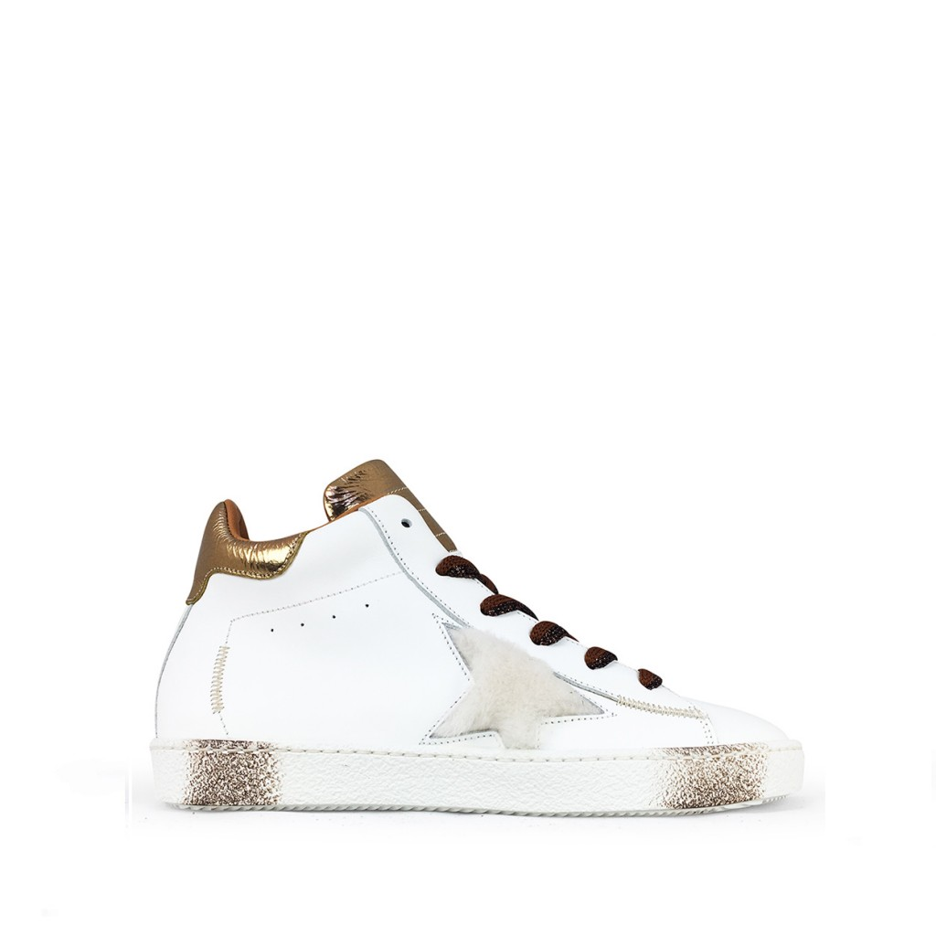 Rondinella trainer Semi-high white sneaker with bronze