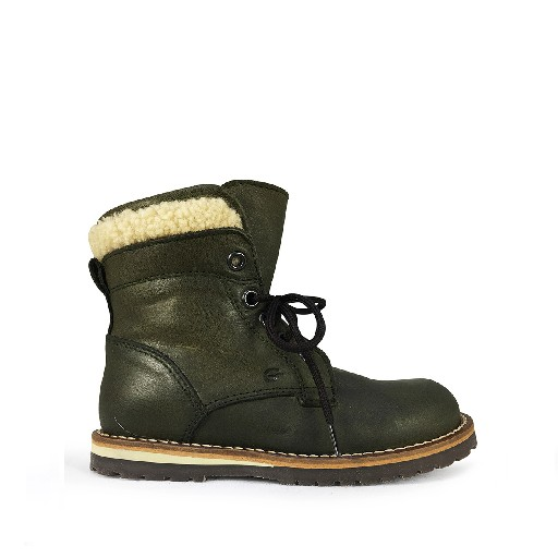 Kids shoe online Gallucci boot Green lace-up boot with wool edge