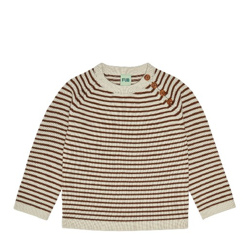 Kids shoe online FUB jersey Ecru brown striped sailor jumper