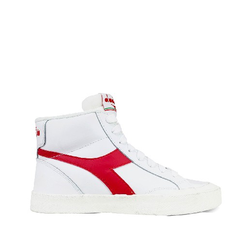 Kids shoe online Diadora trainer Semi-high white sneaker with red logo