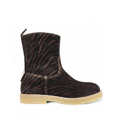 Kids shoe online Ocra short boots Short boot in dark zebra leather
