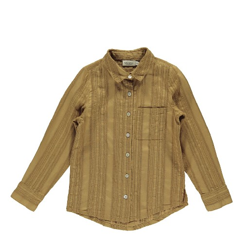 MarMar Copenhagen blouses Brown blouse with embroidery