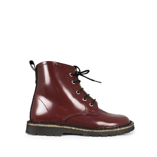 Kids shoe online Two Con Me by Pepe boot Burgundy lace boot