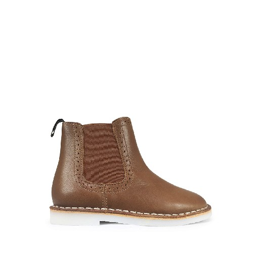 Kids shoe online Young Soles boot Chelsea boot in brown smooth leather