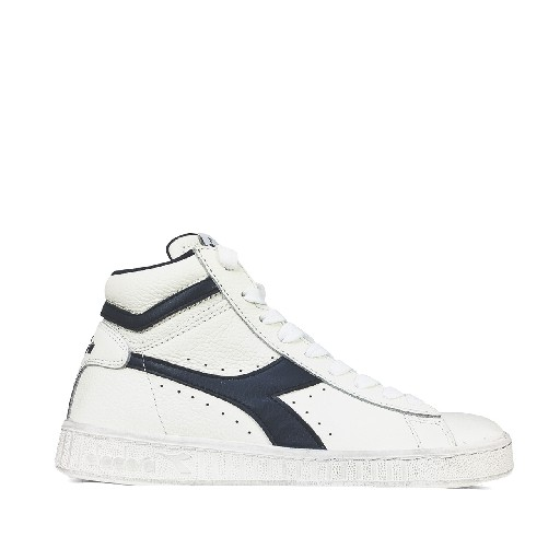 Kids shoe online Diadora trainer Semi-high white sneaker with blue logo