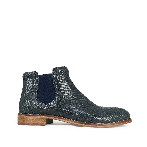 Momino short boots Blue braided chelsea boot