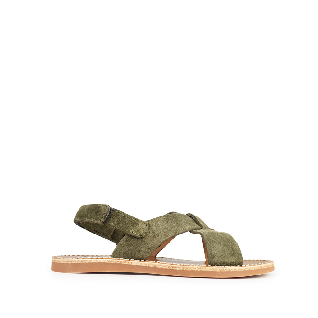 Pom d'api - Olive sandal with crossed band