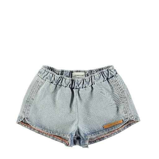 Kids shoe online Piupiuchick shorts Runner shorts washed blue jeans