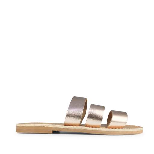 Kids shoe online Théluto sandals Stylish copper-coloured leather slippers