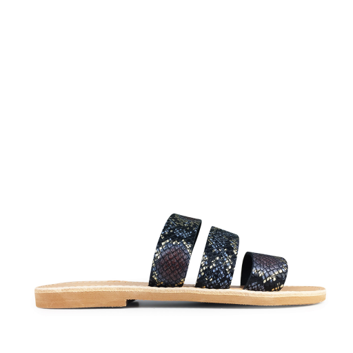 Kids shoe online Théluto sandals Stylish leather slippers in snake print