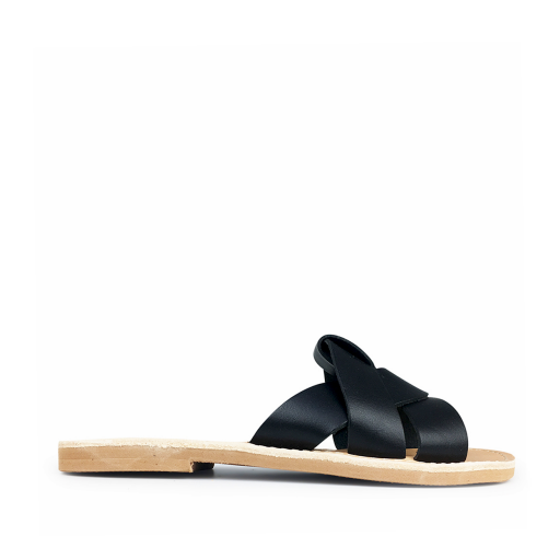 Kids shoe online Théluto sandals Stylish black leather slippers