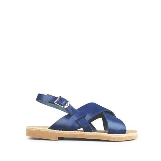 Kids shoe online Théluto sandals Jeans blue leather slippers