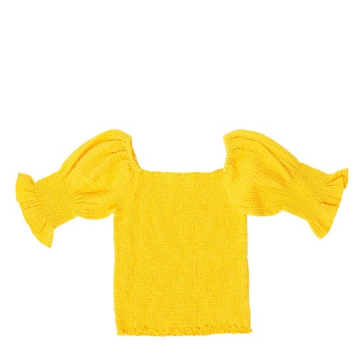 Kids shoe online The Campamento tops Yellow smocked top with puff sleeves