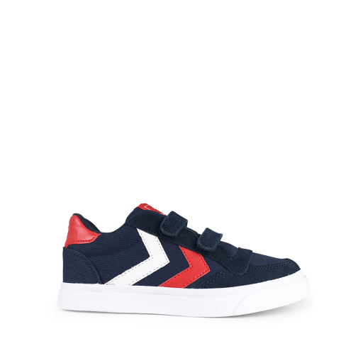 Kids shoe online Hummel trainer Blue velcro sneaker with v-stripes