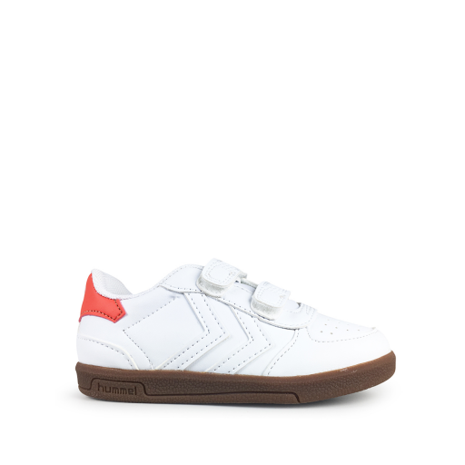 Kids shoe online Hummel trainer White velcro sneaker with v-stripes