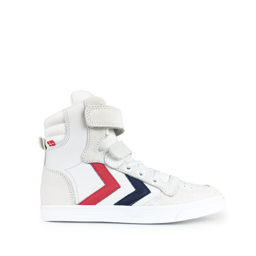 Kids shoe online Hummel trainer White high sneaker with stripes