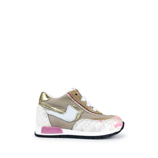 Kids shoe online Rondinella trainer Gold snake-printed sneaker
